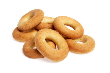 Corn bagels isolated on a white background