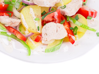 Chicken salad with potatoes and zucchini.