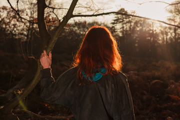 Woman admiring sunset in forest