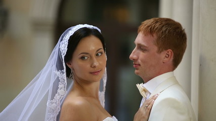 Beautiful wedding couple together. Sequence