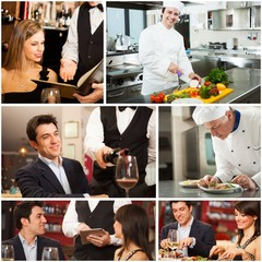 Chefs, waiters and customers in a restaurant
