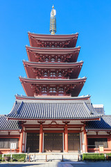 Five Story Pagoda, Sensoji Temple Asakusa, Tokyo, Japan