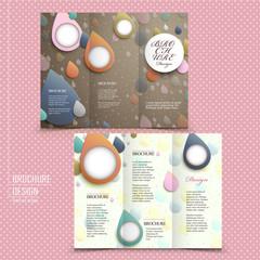 tri-fold brochure template design with raindrop
