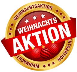 """Button Banner """"Weihnachtsaktion"""" Kugeln rot/gold"""
