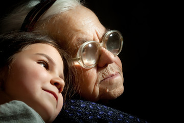 Grandmother and young girl