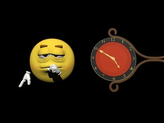 Emoticon and a clock - 3d render