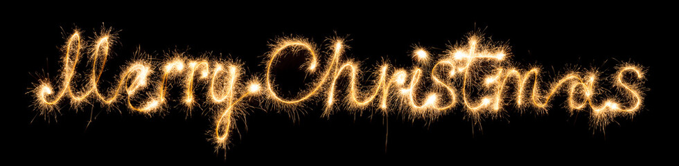 Merry christmas made of sparkles on black