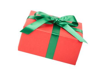 rotes Weihnachtsgeschenk freigestellt