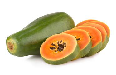 ripe papaya isolated on white background