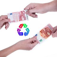 Zehn Euro Schein alt gegen neu tauschen