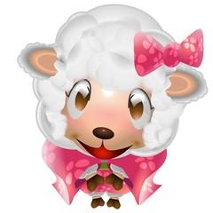 羊 女の子 着物 年賀状 イラスト