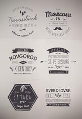 Hand Drawn Style Logos. Trendy Retro Vintage Insignias in EPS.
