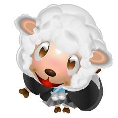 羊 男の子 着物 年賀状 イラスト