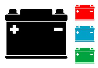 Pictograma bateria electrica con varios colores