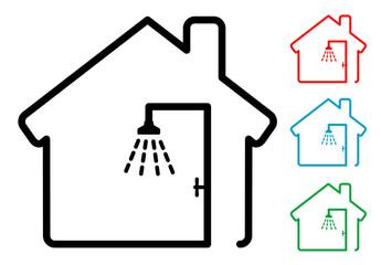 Pictograma silueta ducha en casa con varios colores
