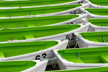 Boats floating on the Lake Onuma, Hokkaido, Japan