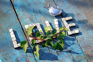 word love of wooden dominoes