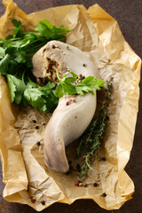 boiled beef tongue with herbs and spices