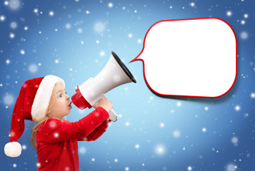 child with megaphone and balloon, snowfall christmas background