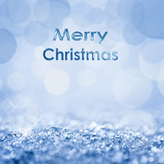 Merry Christmas snow and bokeh square blue background