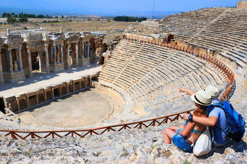 Tourists in ancient Hierapolis