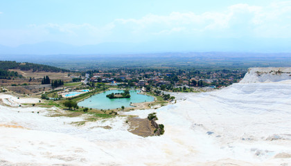 Famous travertine pools and terraces at Pamukkale, Turkey