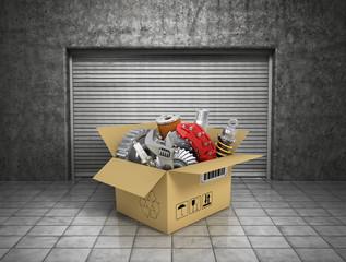 Auto parts with cardbox in garage. Automotive basket shop. Auto