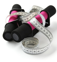Black-pink soft dumbbell with handle strap and measuring tape