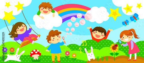 wide strip with happy kids - 74013329