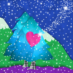 Christmas tress with love greeting card