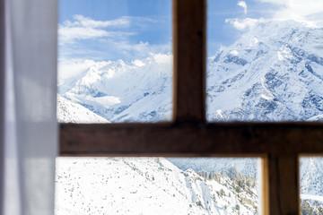 Looking through window at Himalaya Mountains Nepal