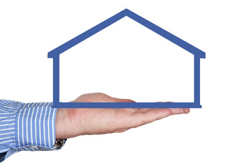 Hands holding a house contour