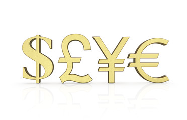 Golden currency symbols isolated on white with clipping path. Sa