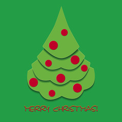 Christmas greetings card with fir tree, vector illustration