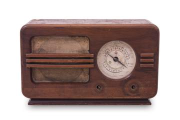 antique radio on white background