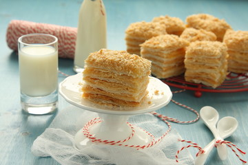 Napoleon cake  – layer cake from  puff pastry with custard cream