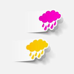 realistic design element: cloud, rain
