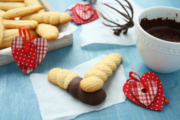 Homemade shortbread cookies with chocolate and hearts