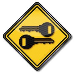 Schild Schlüssel und Sicherheit
