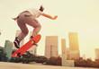 woman skateboarder skateboarding at city