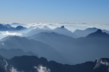 fog from fansipan summit in sapa vietnam