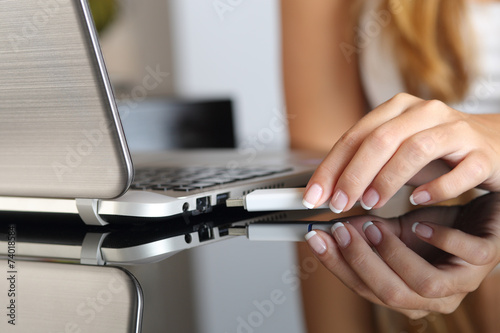 canvas print picture Woman hand plugging an usb  pendrive on a laptop at home