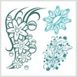 Flower design for tattoo. Vector illustration.