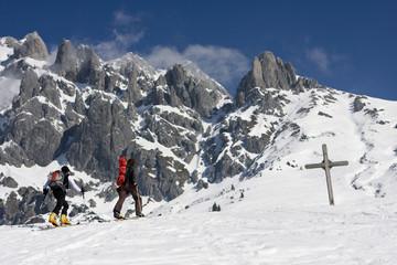 Österreich, Salzburger Land, Hochkönig Berg, Paar beim Skiwandern