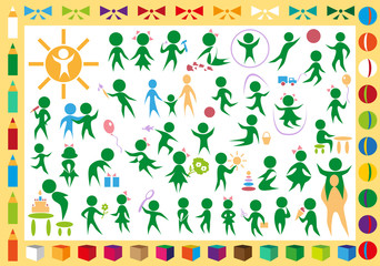 children and toys icons