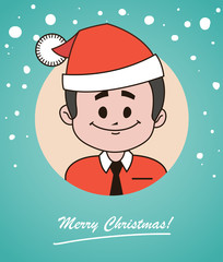 Christmas card  with happy  Santa Claus in red hat and tie