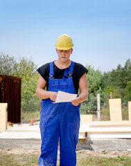 Builder checking on order or contract