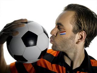 Mann mit Holland Flagge auf Gesicht, Fußballfan