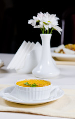 Appetizing bowl of creamy pumpkin soup