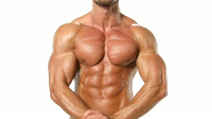Muscular and sexy torso of young man, bodybulider isolatedon